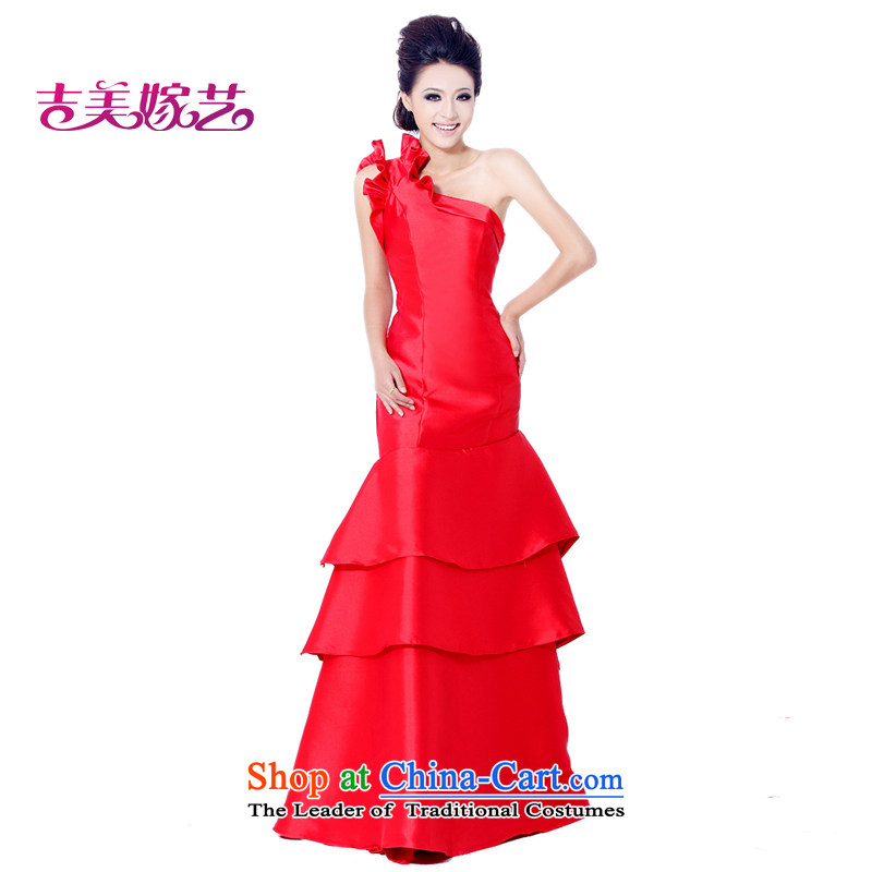 Wedding dress Kyrgyz-american married arts shoulder the new 2015 Korean Red LS554 bridal dresses Sau San crowsfoot RED�M