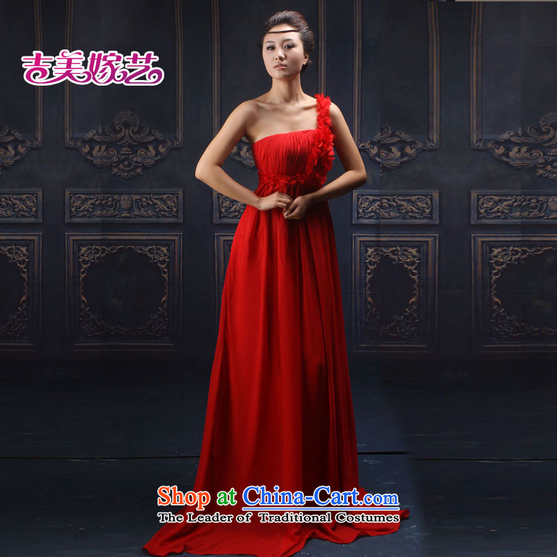 Wedding dress Kyrgyz-american married arts shoulder the new 2015 Korean Red LS199 to Sau San bridal dresses red�L