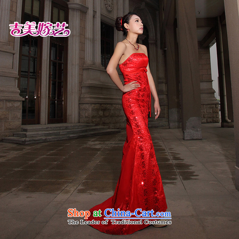 Wedding dress Kyrgyz-american married new anointed arts 2015 Chest Korean Red Tail LT206 Sau San bridal dresses RED?M