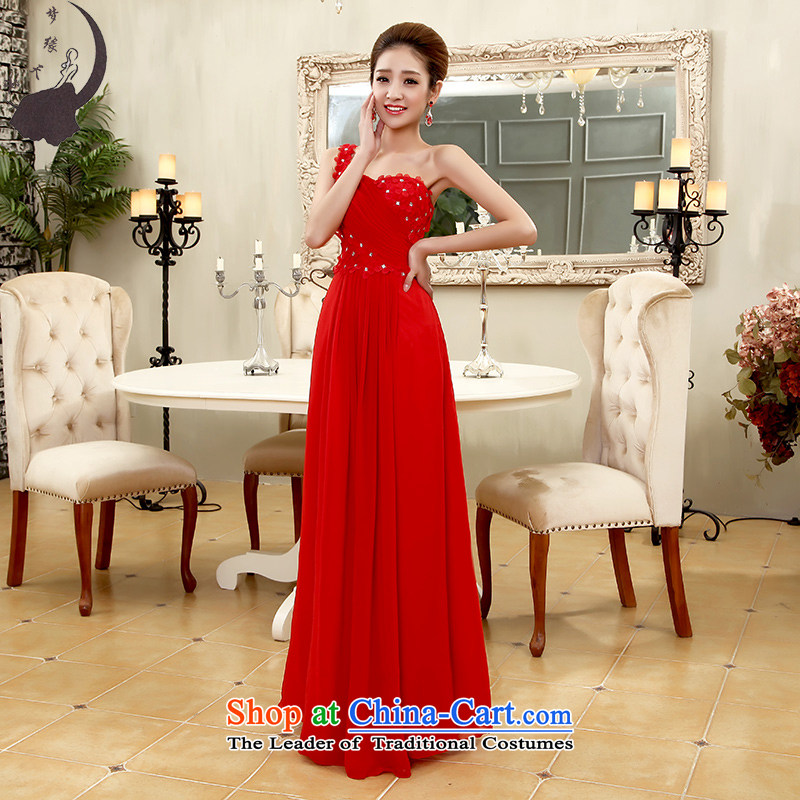 The leading edge of the days of the bows services will serve dinner bridesmaid to be female long wedding dress 2015 autumn and winter 7566 red tie) s 1.9 feet waist