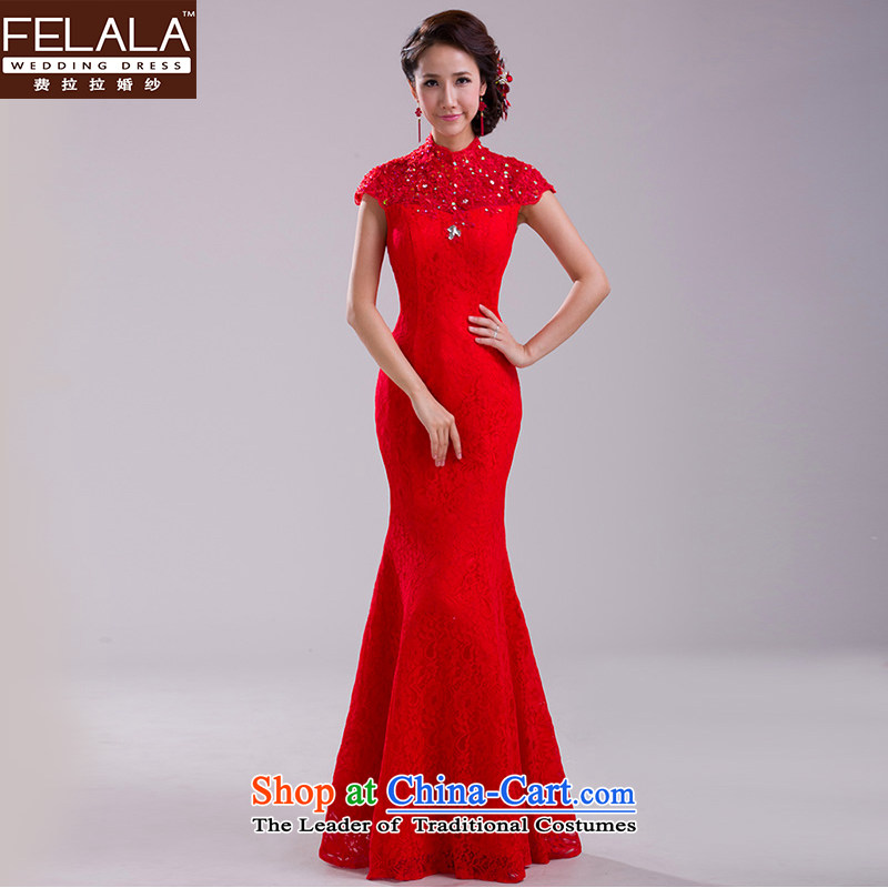 Ferrara聽2015 new large red retro lace bride bows services foutune crowsfoot long evening dress skirt聽M聽Suzhou Shipment