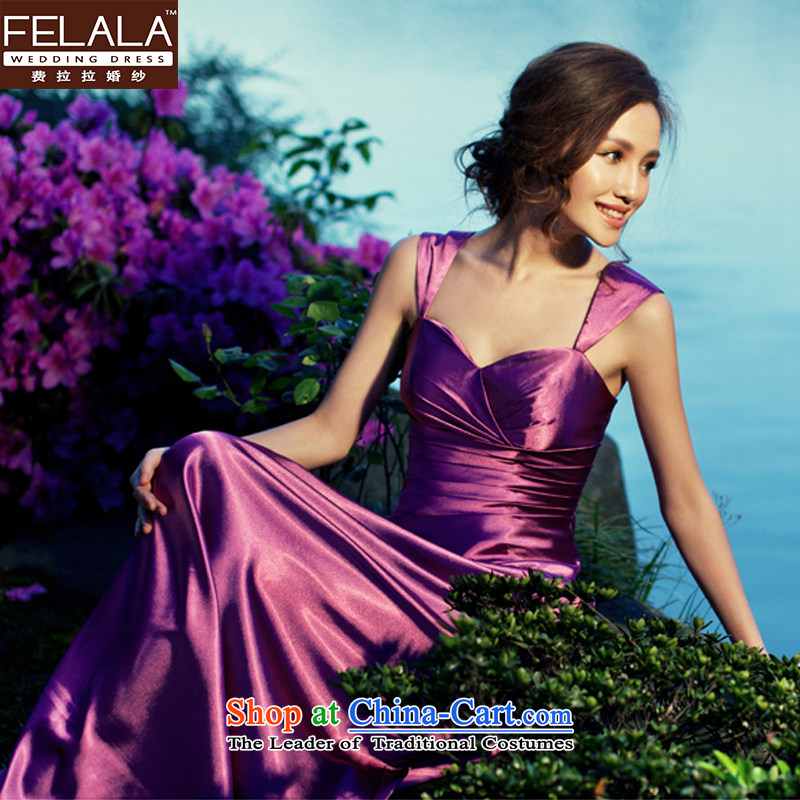 Ferrara temperament purple evening dress long wedding dresses bride bows moderator dress dinner with燣燬uzhou Shipment