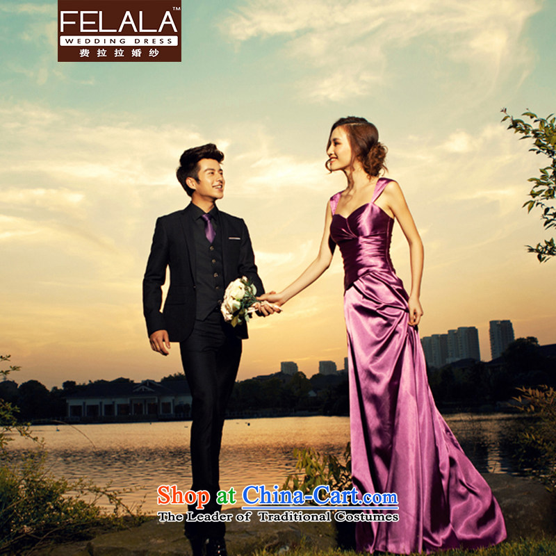 Ferrara temperament purple evening dress long wedding dresses bride bows moderator dress dinner with the聽shipment of Suzhou L Ferrara wedding (FELALA) , , , shopping on the Internet