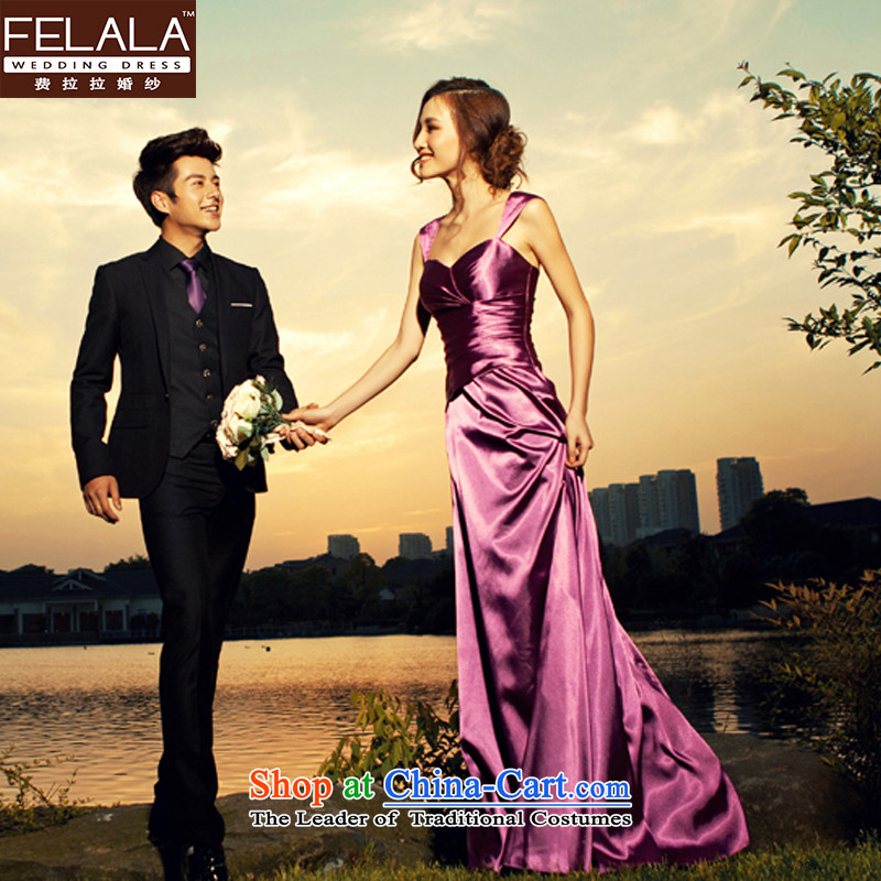 Ferrara temperament purple evening dress long wedding dresses bride bows moderator dress dinner with the shipment of Suzhou L Ferrara wedding (FELALA) , , , shopping on the Internet