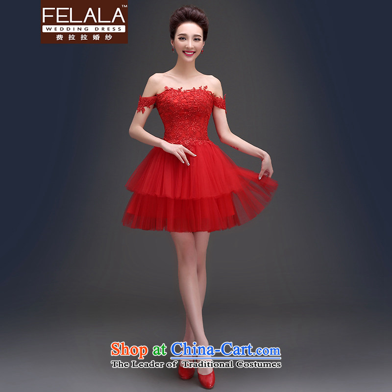 Ferrara聽Word 2015 evening dress shoulder and sexy skirt dress lace wiping the chest short of dress female bows service wedding dress聽M聽Suzhou Shipment