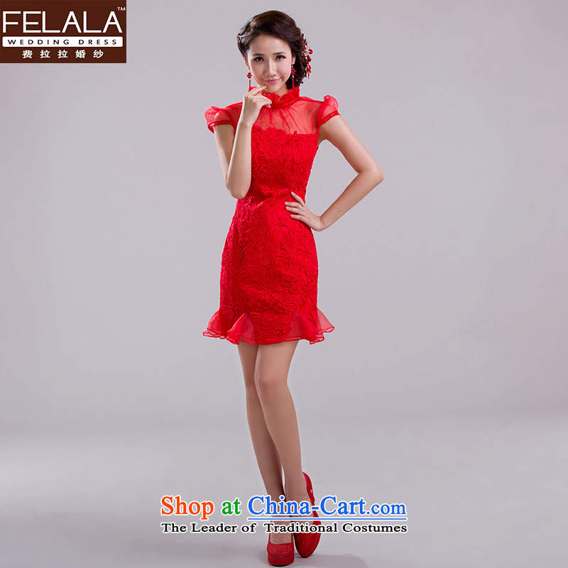 Ferrara?2015 new bride short of qipao improved water-soluble red lace marriage bows dress spring winter?L?Suzhou Shipment