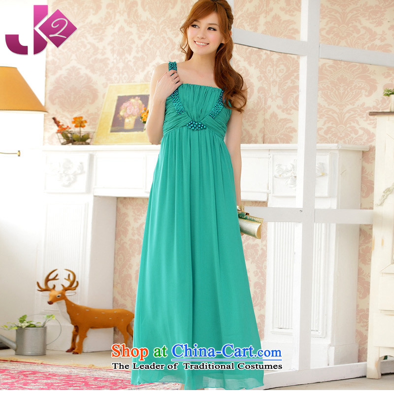 �High-end atmospheric manually Jk2.yy nail-ju long skirt chiffon dresses larger long evening dinner dress Paock Green�2XL recommendations about 155