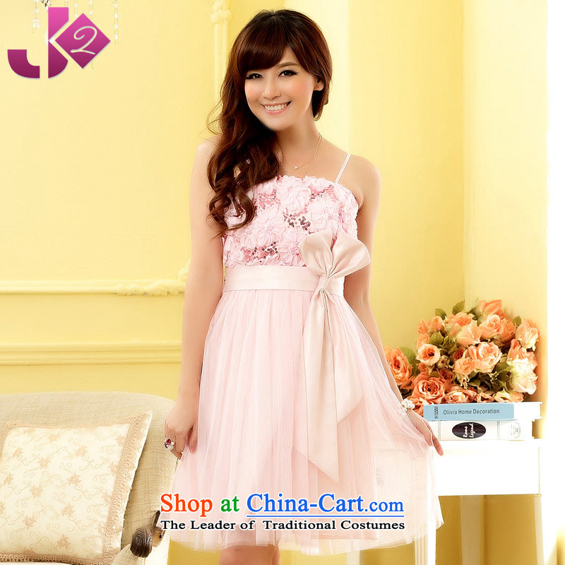 ?Sweet Princess bow-tie Jk2.yy satin wedding dresses Sister Mary Magdalene chest skirt skirt strap dresses with XL pink are code recommendations about 95