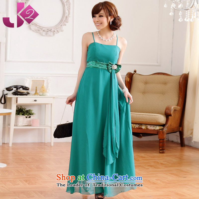 ?Stylish simplicity of Jk2.yy demeanor turns off-chip bow-tie drill strap long skirt small dress suits skirts XL lake green are code around 922.747 recommended 100