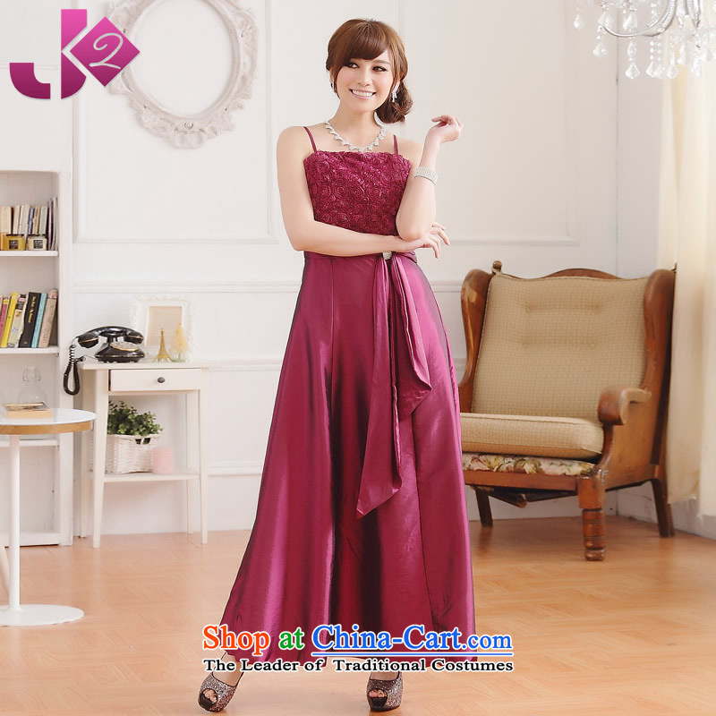 ?The Korean version of large numbers Jk2.yy strap dresses rose thronged Sau San video thin snap long dresses drill, mauve?XL recommendations dress skirt around 922.747 135