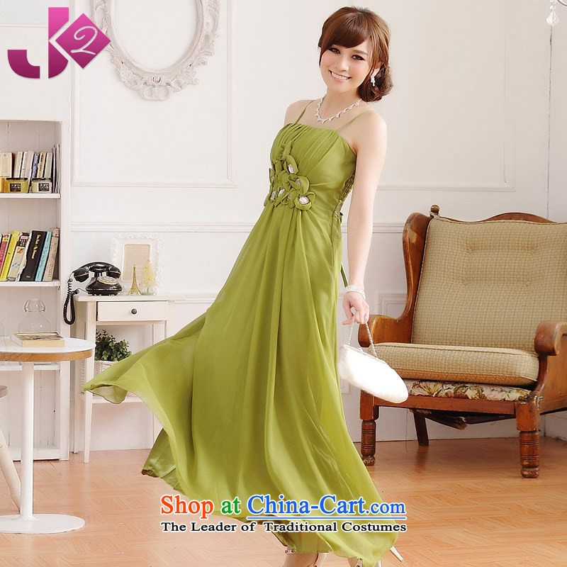 ?The stylish Jk2.yy wedding dress Bridal Services bridesmaid presided over a drink banquet dinner dress strap chiffon dresses green?XL recommendations about 130
