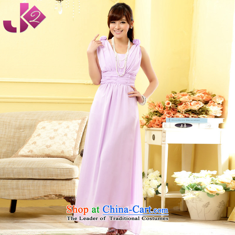 The new summer 2015 Jk2.yy Korean elegant Foutune of video-sweet manually shoulder flower V-Neck chiffon long skirt sister services bridesmaid dress dresses purple?2XL recommendations about 150