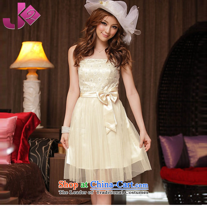?In the summer the beauty princess Jk2.yy wrapped chest small dress bridesmaid evening dress sister Services xl anointed chest dresses champagne color?2XL recommendations about 160