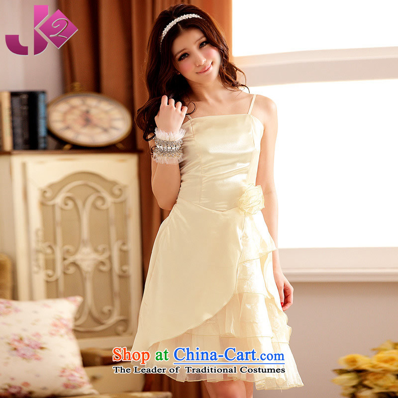 Jk2.yy?summer evening dresses stylish and elegant dresses bows serving dinner show meeting under the auspices of XL slips champagne color codes are recommended 100 catties left