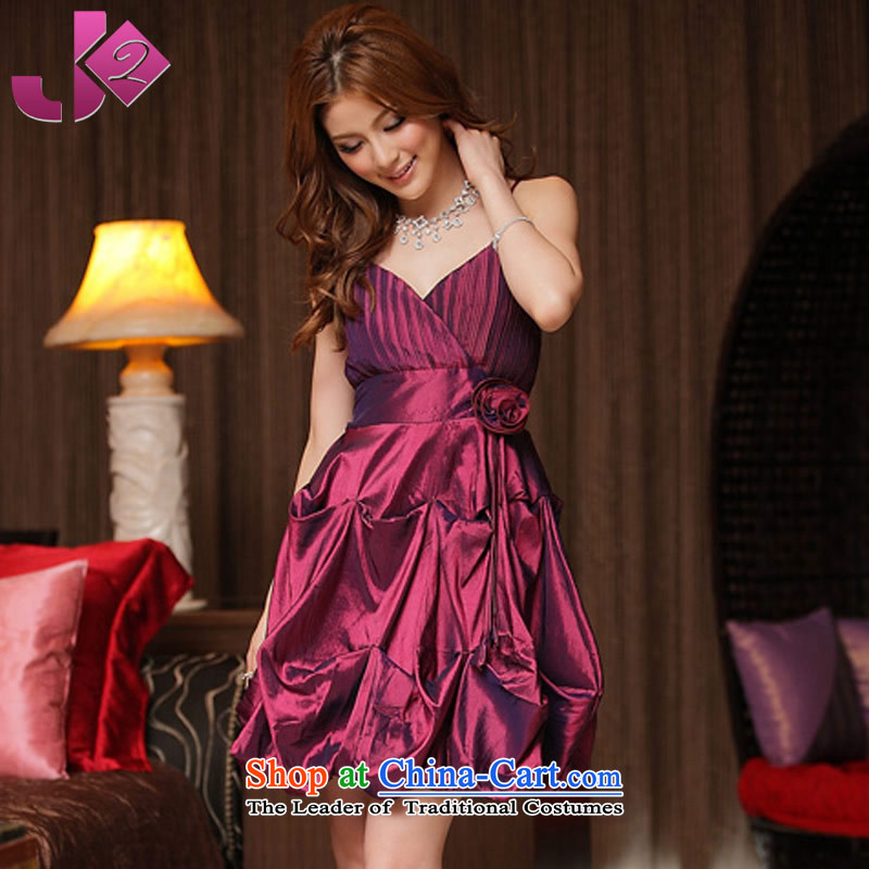 ?The new name of the summer Jk2.yy Yuan temperament sweet strap small dress evening dresses?V-neck strap connected yi lanterns skirts bridesmaid?2XL Magenta recommendations to about 155
