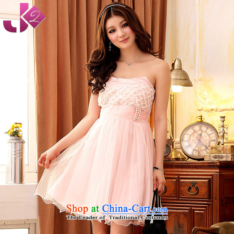 Jk2.yy?bridesmaid wedding dresses skirt skirt small wiping the chest tightness back, chest wrapped suits skirts thick mm xl women's dresses female pink?XL recommendations about 135