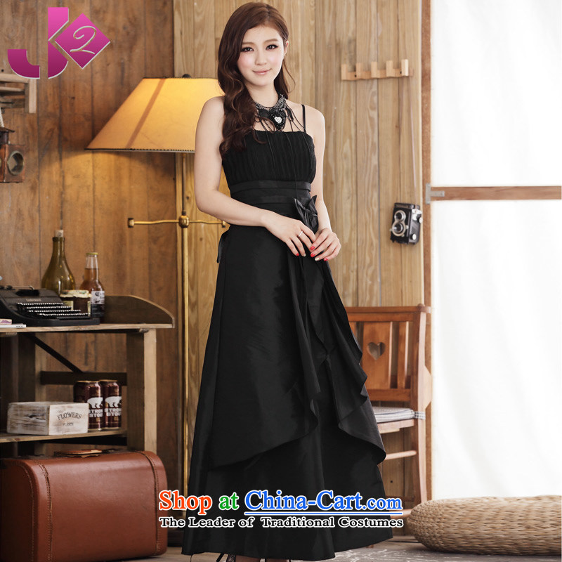 ?Elasticated waist Jk2.yy Bow Tie Straps Sau San dresses small dress uniform hotel bows evening gatherings long skirt elegant black dress long?2XL recommendations about 155