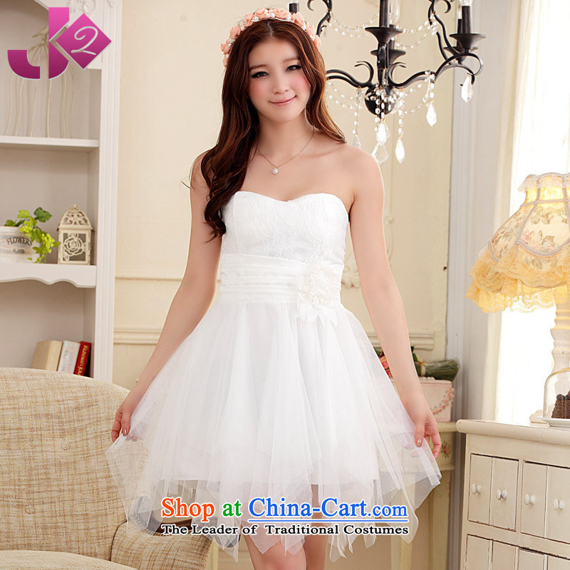 Jk2.yy?sweet bridesmaid Dress Short exquisite flowers of the female depilation chest dresses larger female Korean autumn to intensify the white loaded?3XL recommendations about 165