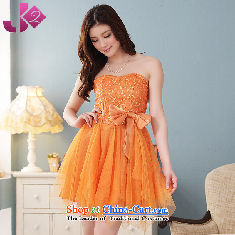 ?Load new women's Jk2.yy Korean Iron Bow Tie flowers without rules before wiping the chest dresses bridesmaid skirt small dress XL Female dress code a small orange are code recommendations about 95