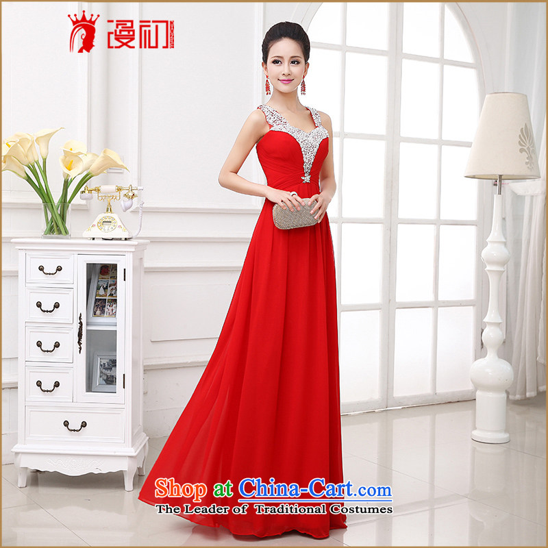 The early evening dresses man 2015 new bride stylish red bows, married to serve both shoulders long gown red�XL