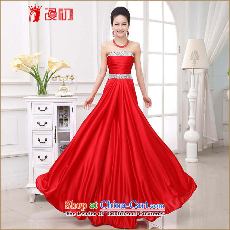 At the beginning of the?new 2015 dresses, wedding marriages bows service wedding fashion and chest of diamond ornaments evening dress RED?M