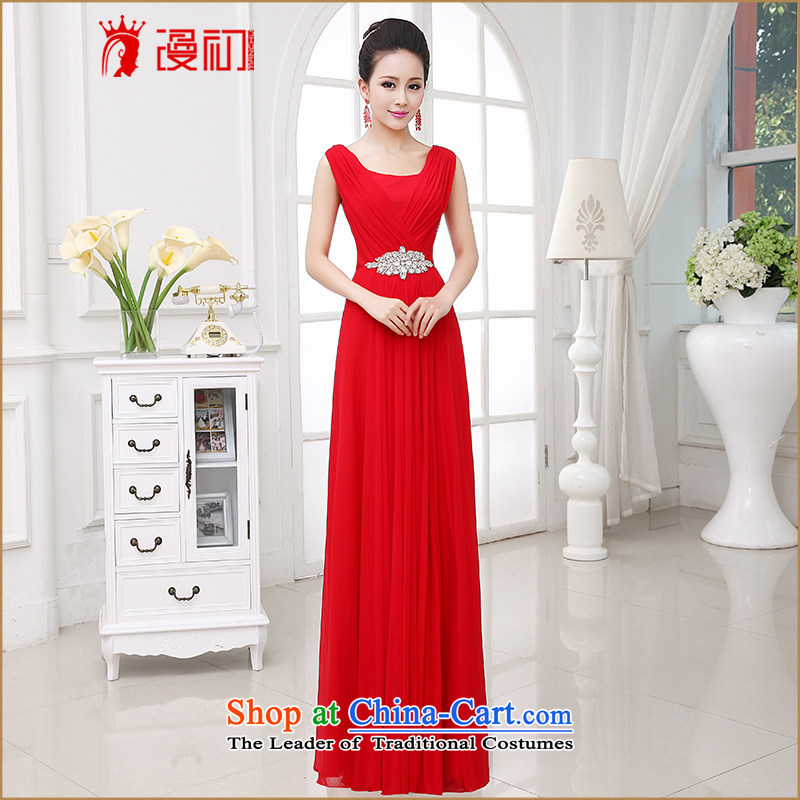 At the beginning of Castores Magi evening dress 2015 new shoulders dress long Korean video thin diamond jewelry Sau San married women serving drink red�M