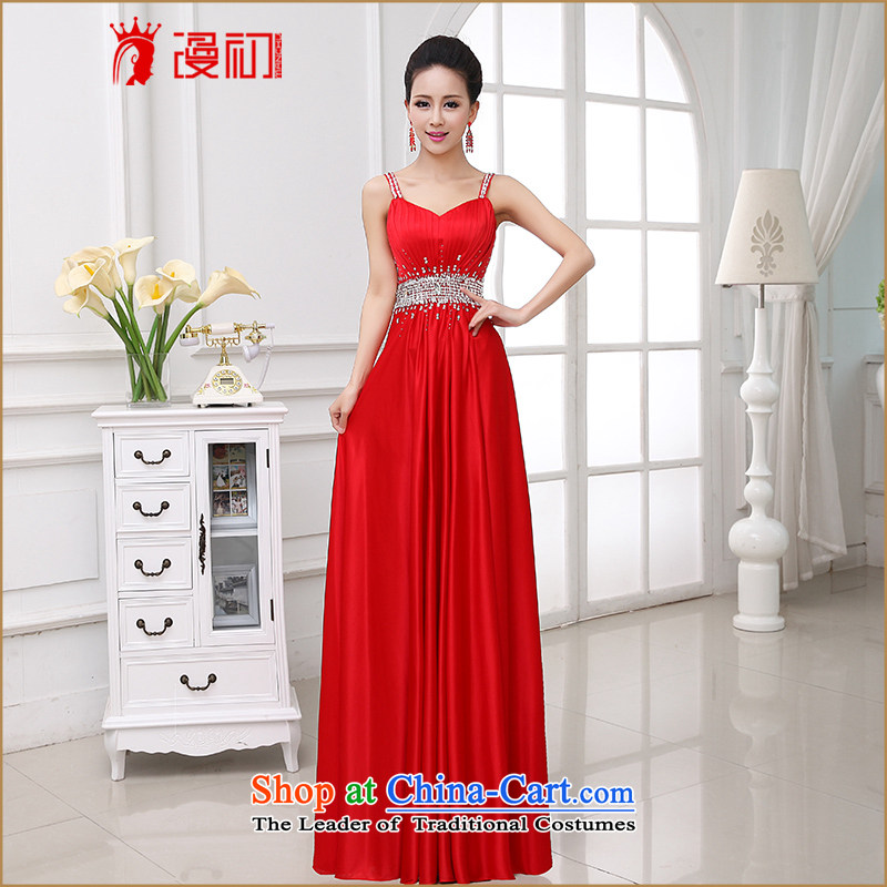 In the early 2015 new man wedding dress elegance straps wedding services long one drink field shoulder evening dresses made red plus $20 does not support Return