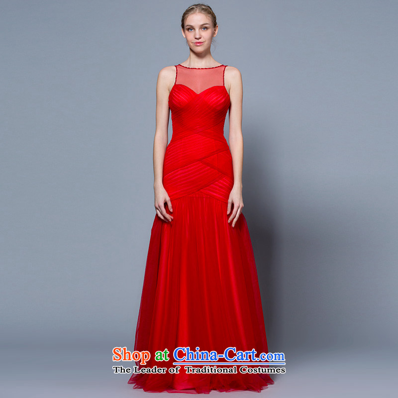A lifetime of wedding dresses?2015 new shoulders transparent gauze sexy long bows services 30240925 Red Red?170/92A 30 days pre-sale