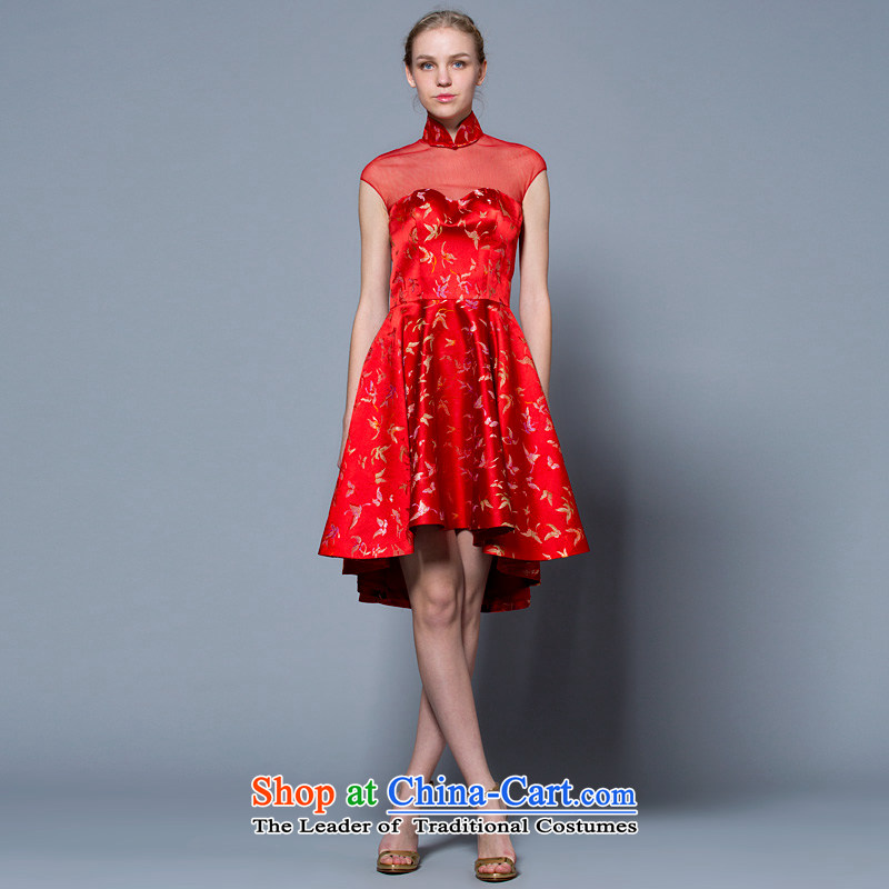 A lifetime of wedding dresses 2015 new package of CHINESE CHEONGSAM brides shoulder Sau San bows services?40221048 Red?Red?165/90A 30 days pre-sale