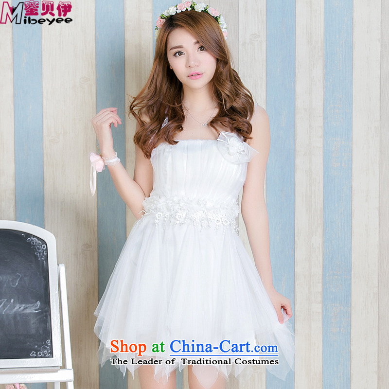 Honey bej new shoulder Beveled Shoulder flowers anointed chest apron skirt bridesmaid skirt dress skirt bows service wedding dress bridesmaid bridesmaid Dress Short service, white are code