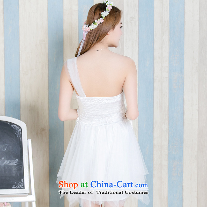 Honey bej new shoulder Beveled Shoulder flowers anointed chest apron skirt bridesmaid skirt dress skirt bows service wedding dress bridesmaid bridesmaid Dress Short services) are code, honey white bay (mibeyee) , , , shopping on the Internet