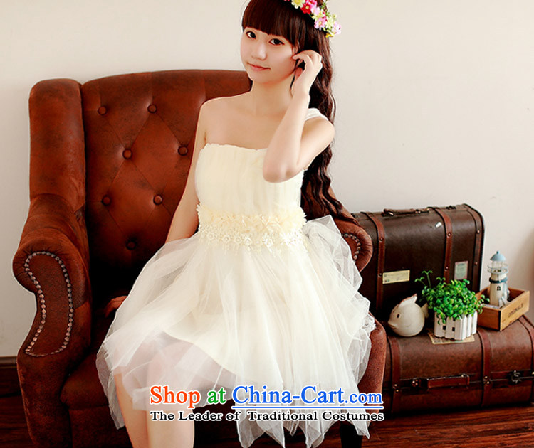 Honey bej new shoulder Beveled Shoulder flowers anointed chest apron skirt bridesmaid skirt dress skirt bows service wedding dress bridesmaid bridesmaid Dress Short service, white pictures, Price per capita code, brand platters! The elections are supplied in the national character of distribution, so action, buy now enjoy more preferential! As soon as possible.