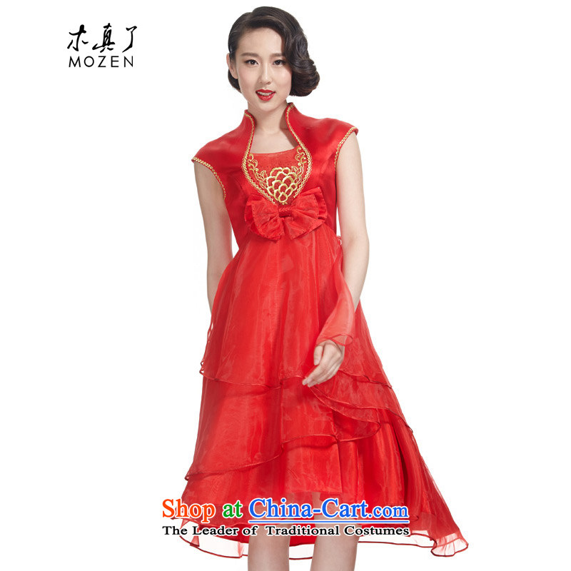 True 2015 : The new Korean bridal dresses embroidered Chinese bows services marriage services winter cheongsam dress Convention No. 21931 05 red�L