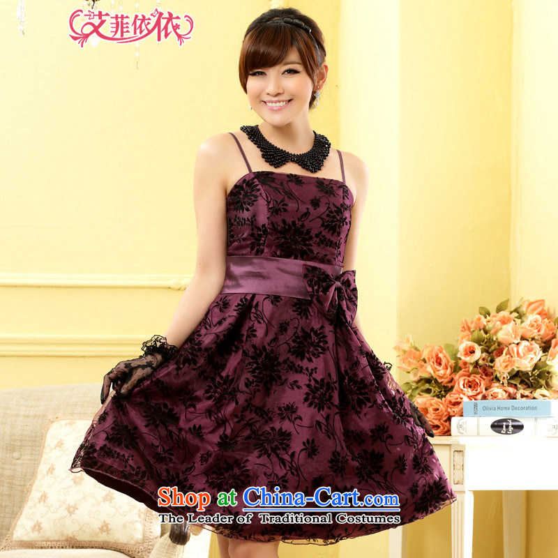 Reft short) Eiffel flocking to erase chest straps small dress?2015 Korean banquet bows sister moderator theatrical Sau San dress skirt 5201 purple are code