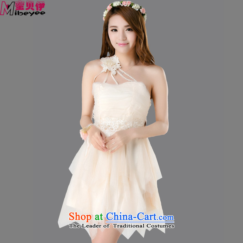 Honey Bej New ~ sexy booking pearl braided tick blossoms population shoulder anointed chest skirt evening dresses dresses princess skirt bows services bridesmaid dress wedding dress code is beige
