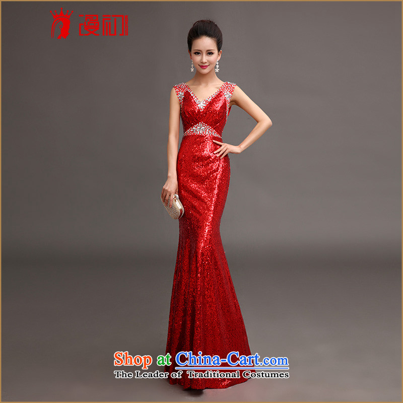 At the beginning of Castores Magi evening dress new luxury on 2015 chip elegant sexy shoulders crowsfoot dress car models to the moderator will crystal clear Red�M