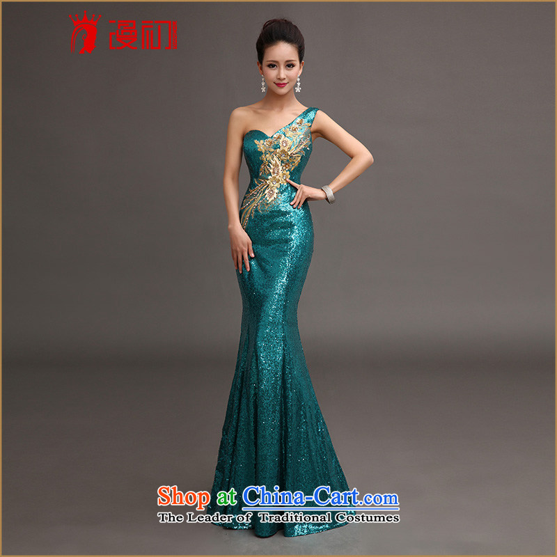At the beginning of Castores Magi shoulder evening dresses 2015 new services on-chip bows luxury long crowsfoot dress moderator will align with Peacock Blue)�S