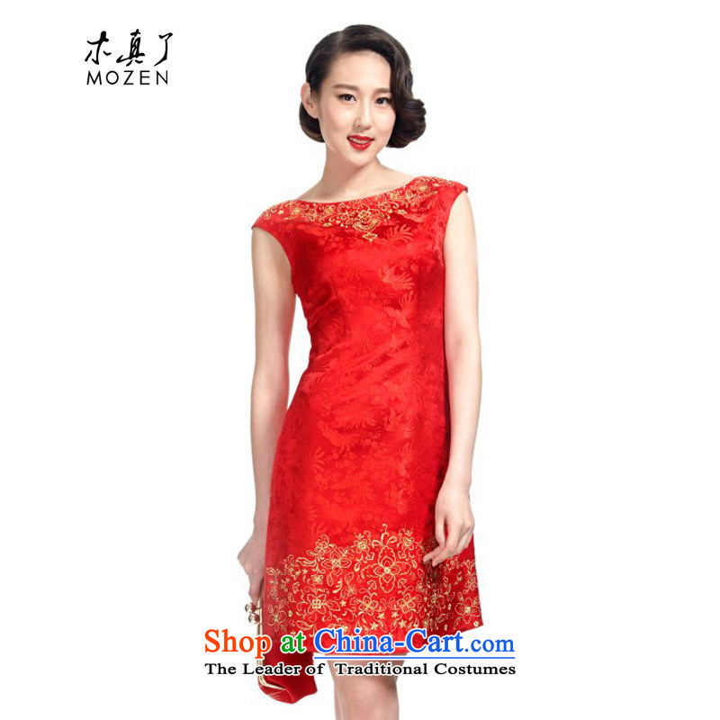 Wooden spring and summer of 2015 really new marriages silk cheongsam dress bows dress uniform?11587 04 red marriage Phoenix?M