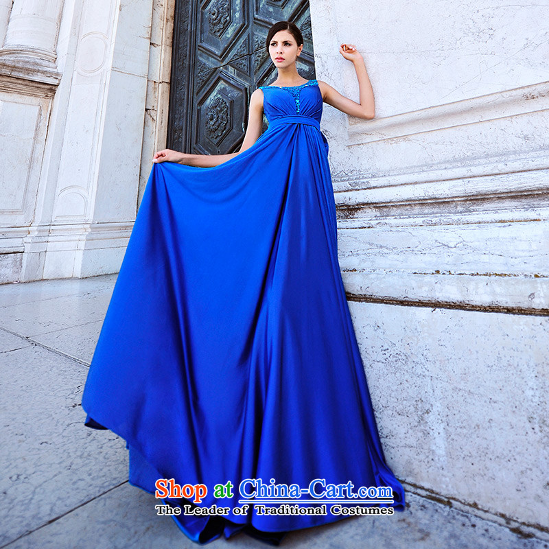 Full Chamber Fang 2015 Venice New 2 shoulder straps engraving bride dress bows Service Decoration evening dresses?L20391??165-L blue