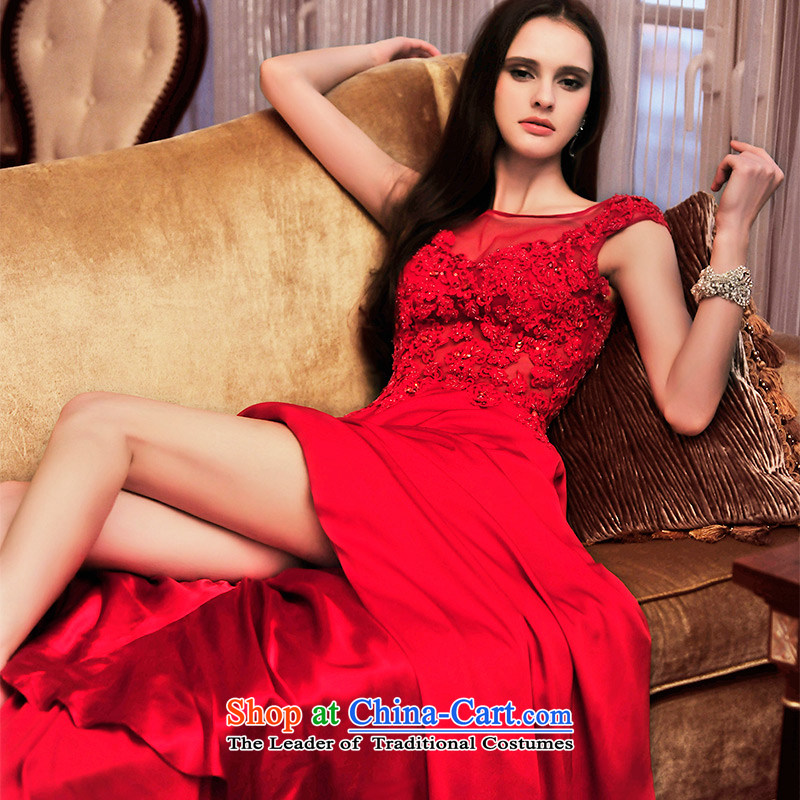 Full Chamber Fang 2015 new bride dress red dress uniform bows spring long strap lace dress L21473?165-M red