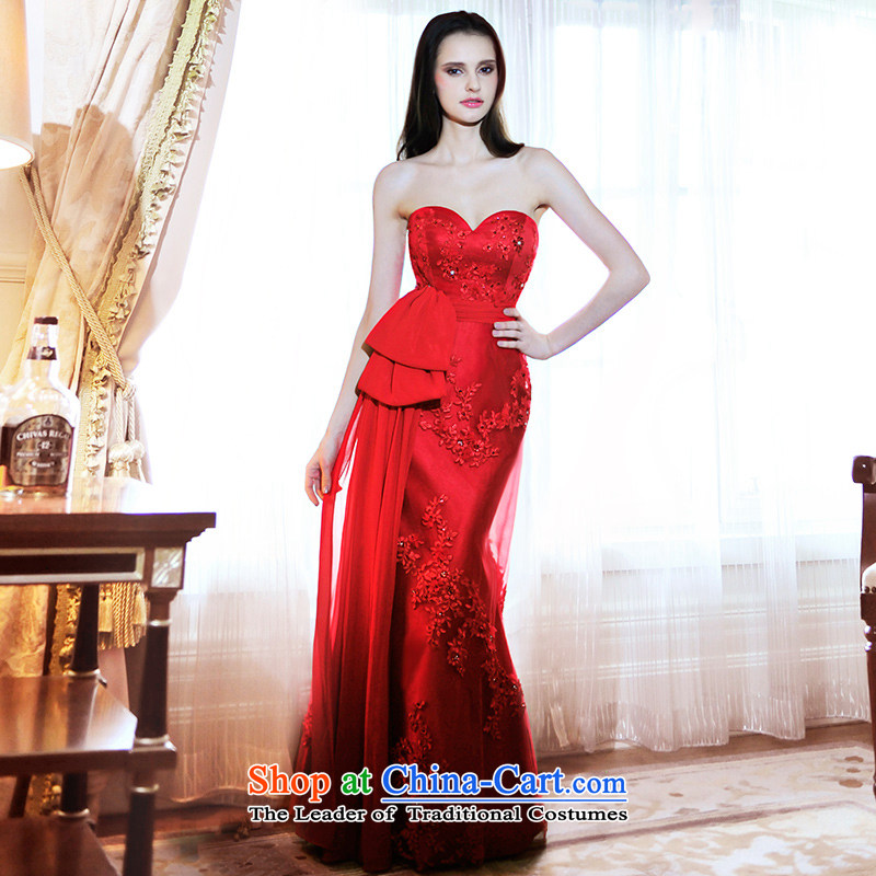 2015 new wedding dresses bride wedding wiping the chest small crowsfoot red bows long evening dresses L21466?173-M red