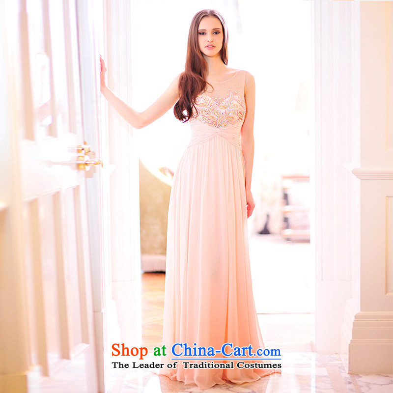 Full Chamber Fang 2015 new bride dress bows services shoulder strap lace diamond nude evening dresses L21495 nude tailored