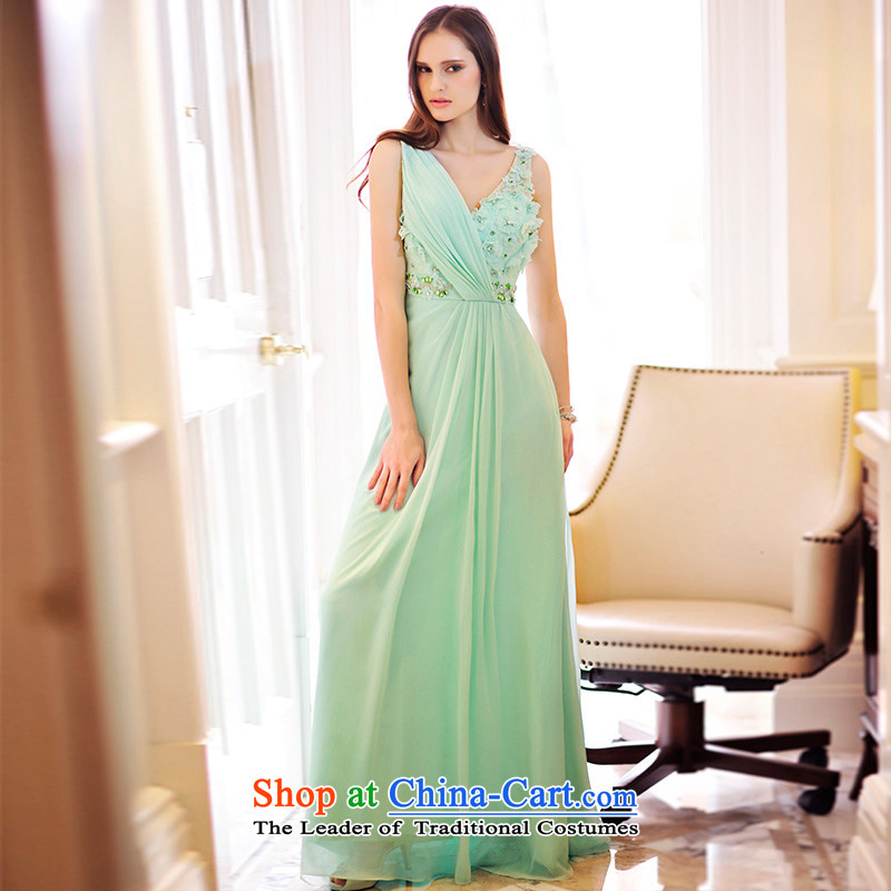 Full Chamber Fang 2015 new drape evening dresses bows services?V-Neck long bride wedding dress L21499?173-M green