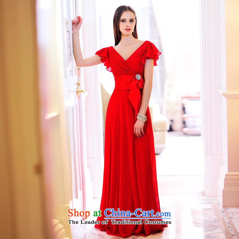 Full Chamber Fang 2015 Spring_Summer MTF new red V-Neck marriages wedding dresses Siu Fei cuff bows L21478 services tailored red