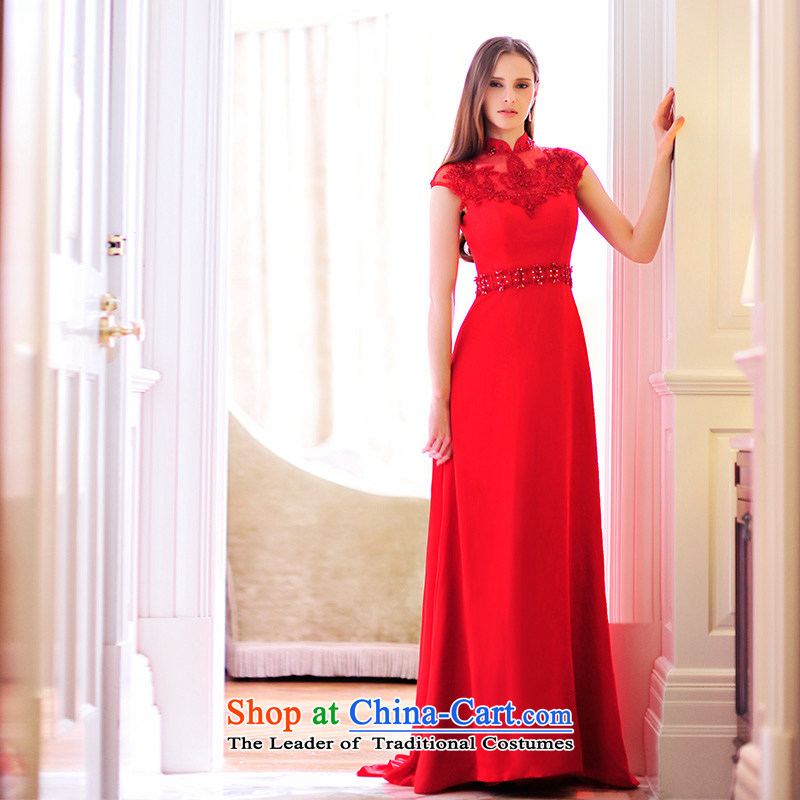 Full Chamber Fang 2015 new marriages bows dress round-neck collar package shoulder small trailing red dress L21489 RED?173-XL Banquet
