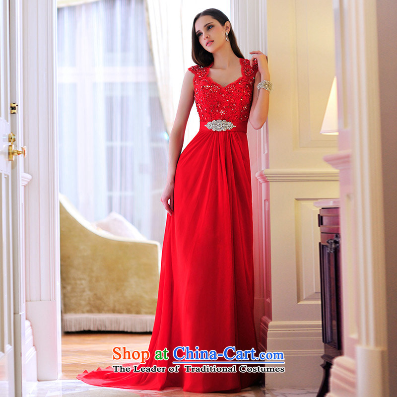 Full Chamber Fang 2015 new back red sum girl brides dress bows services evening dresses long L21479 Red?Tail?173-XL 30cm