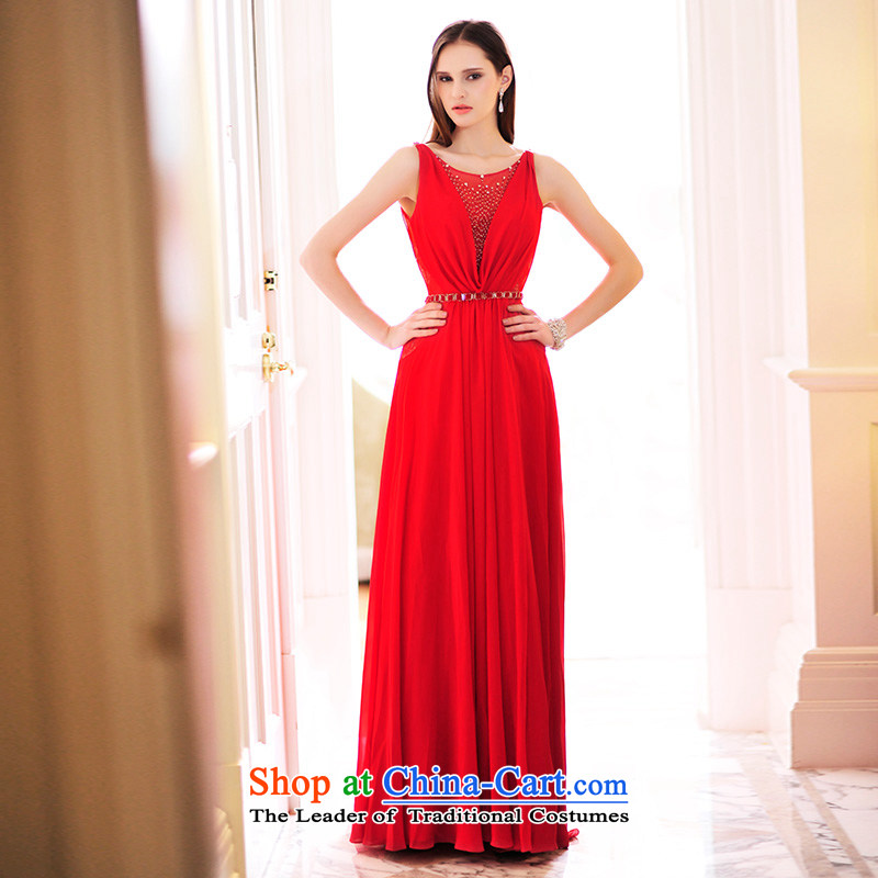 2015 new wedding dresses and bride Han Version V-Neck red back bows dress long skirt evening dress L21472 red tail tailored 15cm