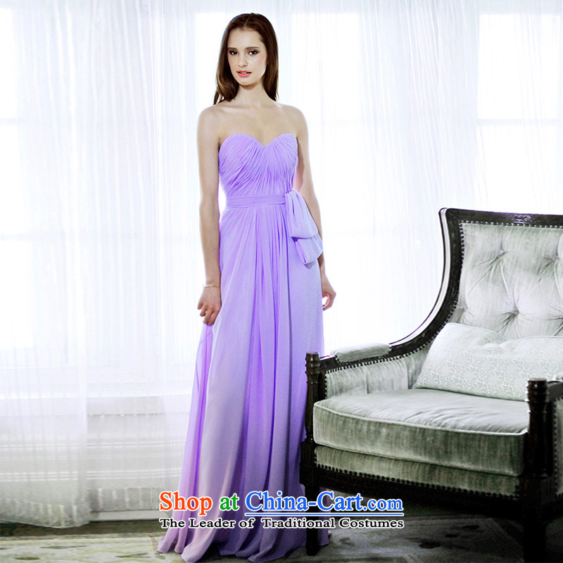 The spring chamber full Fong 2015 new evening dresses L21468 bows services and Long Chest minimalist wedding dress L21468?165-L light violet