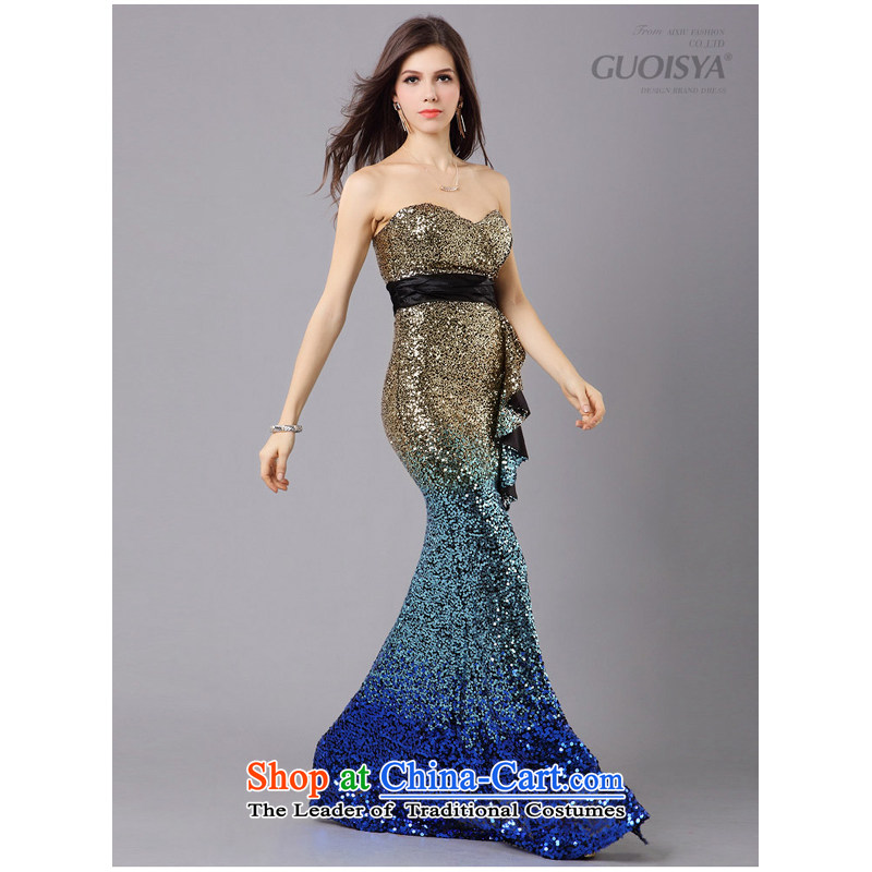 158 multimedia evening dress on chip gradient evening dresses wedding dress crowsfoot dress stylish and elegant blue?XL