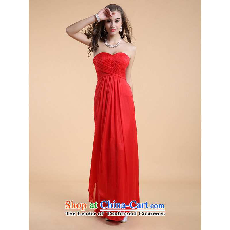 158 multimedia guoisya 2015) red stylish anointed chest bridesmaid service long evening banquet dress 3504 Red�L
